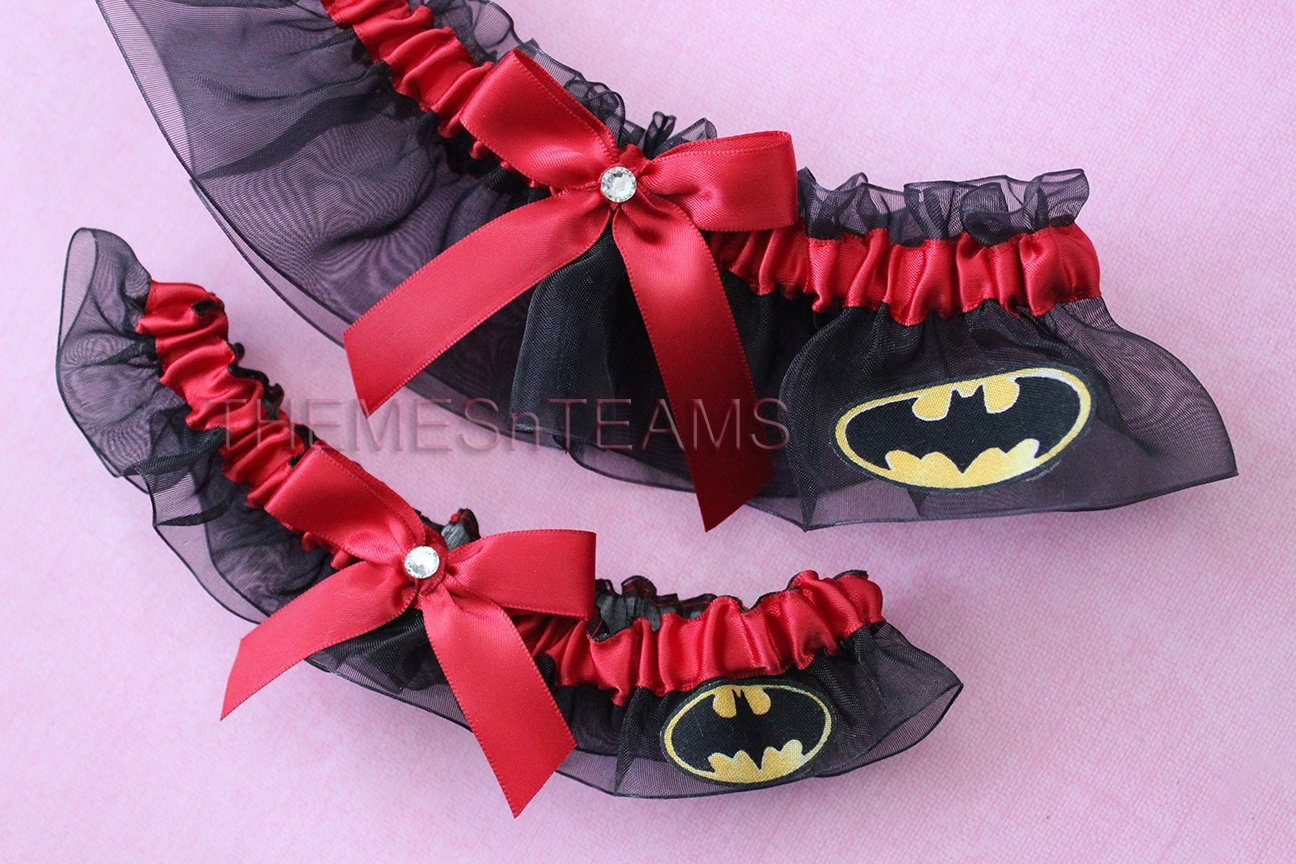 Customizable handmade - Black & Scarlet Red - Batman fabric handcrafted keepsake bridal garters wedding garter set