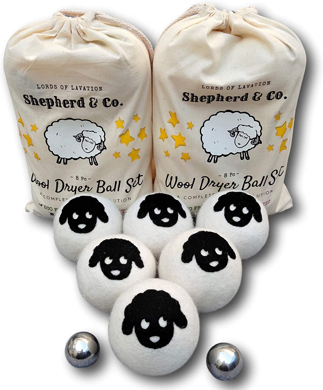 Shepherd & Co. 8 Pc Wool Felt Dryer Balls Set - 6 XXL Natural Eco Friendly Fabric Softener, Anti Static Metal Balls - Reduces Wrinkles & Laundry Drying Time, Baby Safe, Reusable, Gift Set