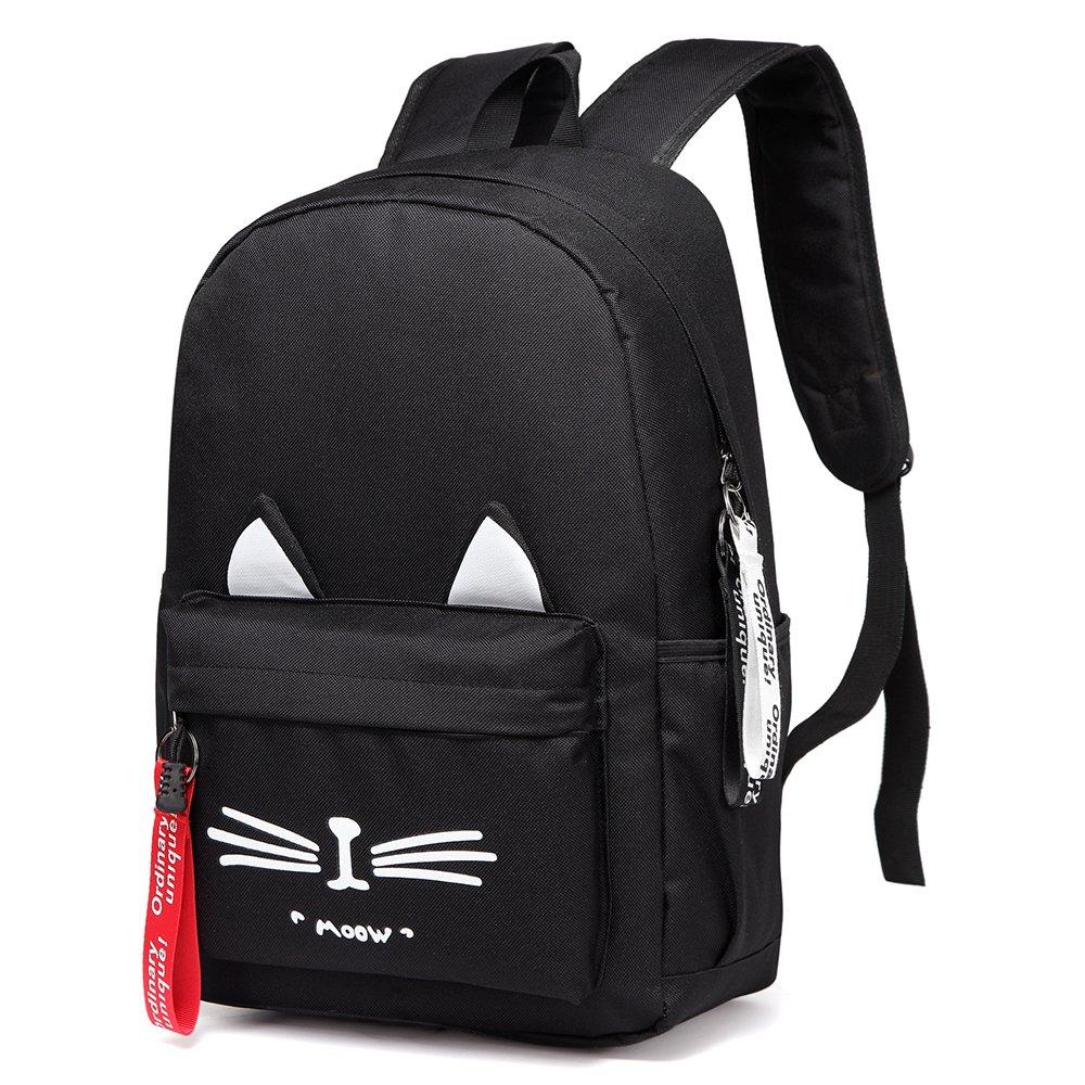 DIOMO School Bookbag Backpack Cute Cat Waterproof Travel Daypacks Fits 15.6 inch Laptop (Black)