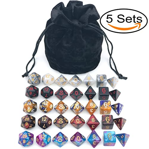 Assorted Polyhedral Dice Set With Black Drawstring Bag 5 Complete Dice Sets Of D4 D6 D8 D10 D D12 D20 Great For Dungeons And Dragons Dnd Rpg Mtg Games