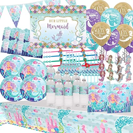 MERMAID BIRTHDAY PARTY SUPPLIES TABLEWARE DECORATIONS BALLOONS GAME