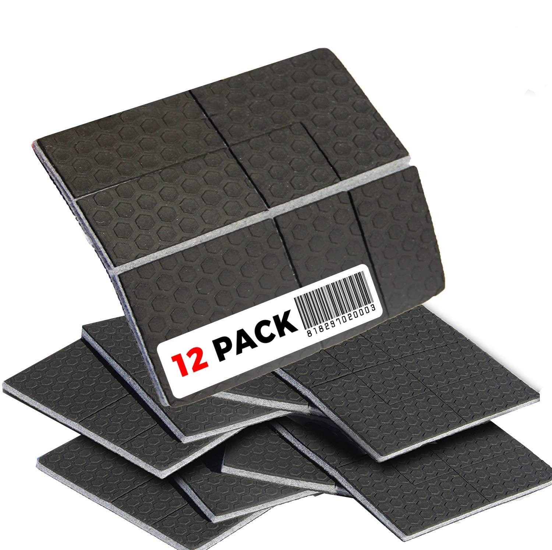 ''SlipToGrip'' NON SLIP Furniture Pad Grippers - Stops Slide - Multi Size (12 Pads) - Make 4'' , 1'', 2'', etc.- Pre-Scored Multiple Sizes - 3/8'' Felt Core - Anti Slip - No nails, No glue. Patent Pending
