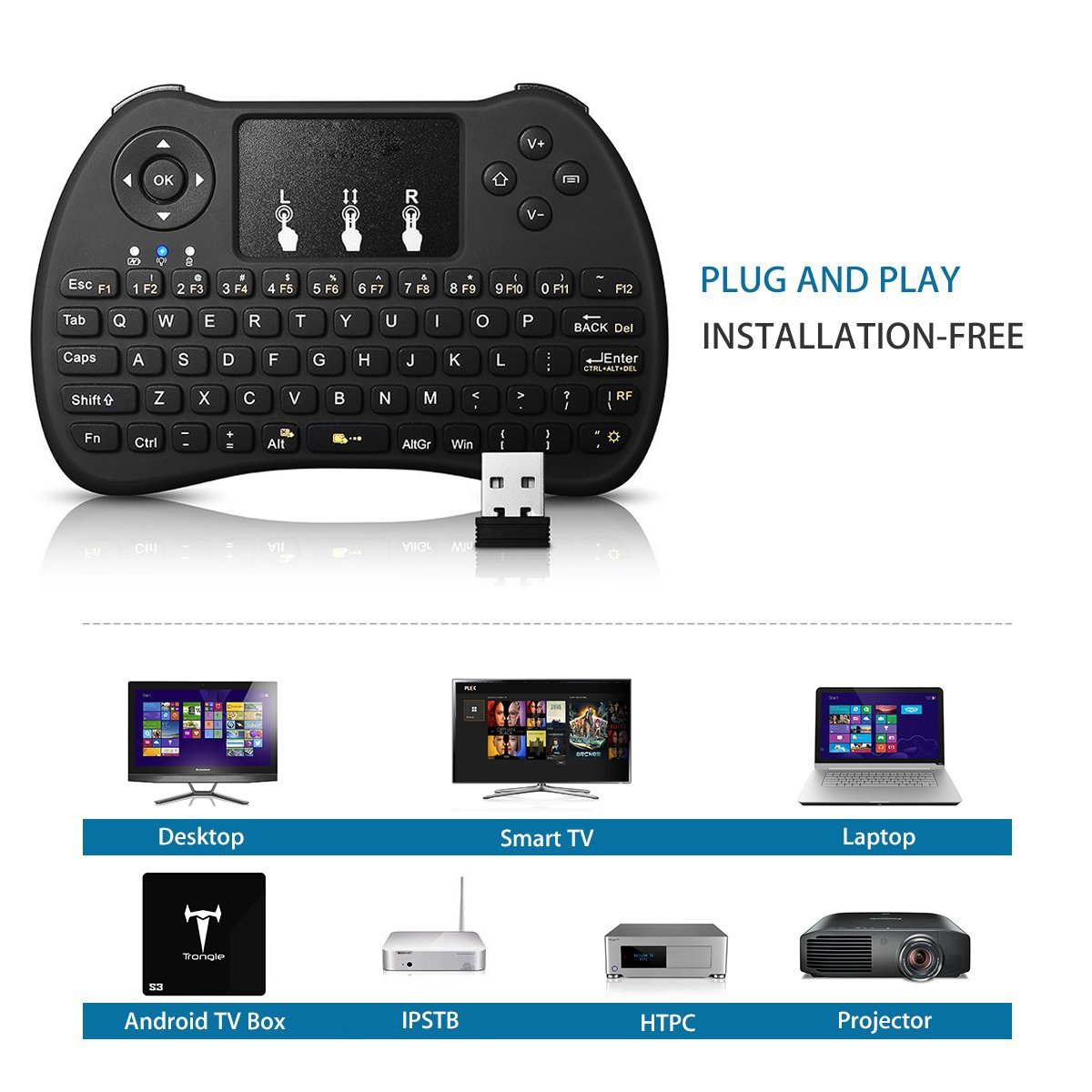 Seguro 2.4 GHz Mini teclado inalámbrico Touchpad Combo, Negro: Amazon.es: Bebé