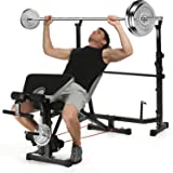 Ancheer All-in-One Weight Bench Olympic Bench Multi-Function Workout Machine with Dumbbell/Barbell Rack - Adjustable 3 Incline Training Bench Folding Sit Up Bench With Leg Curl - Gym and Indoor Fitness Bench ( No Barbell Is Included)