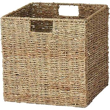 Cesta de almacenamiento cuadrada hecha a mano de mimbre con marco de metal, caja de almacenamiento plegable, cesta de almacenamiento para la ropa, ...