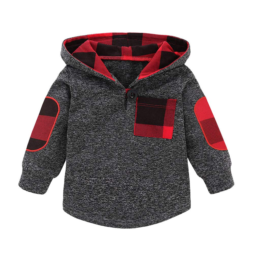 BURFLY Baby Boys Girls Plaid Checked Print Hoodie Pullover Tops Kids Children Warm Coat Outfits