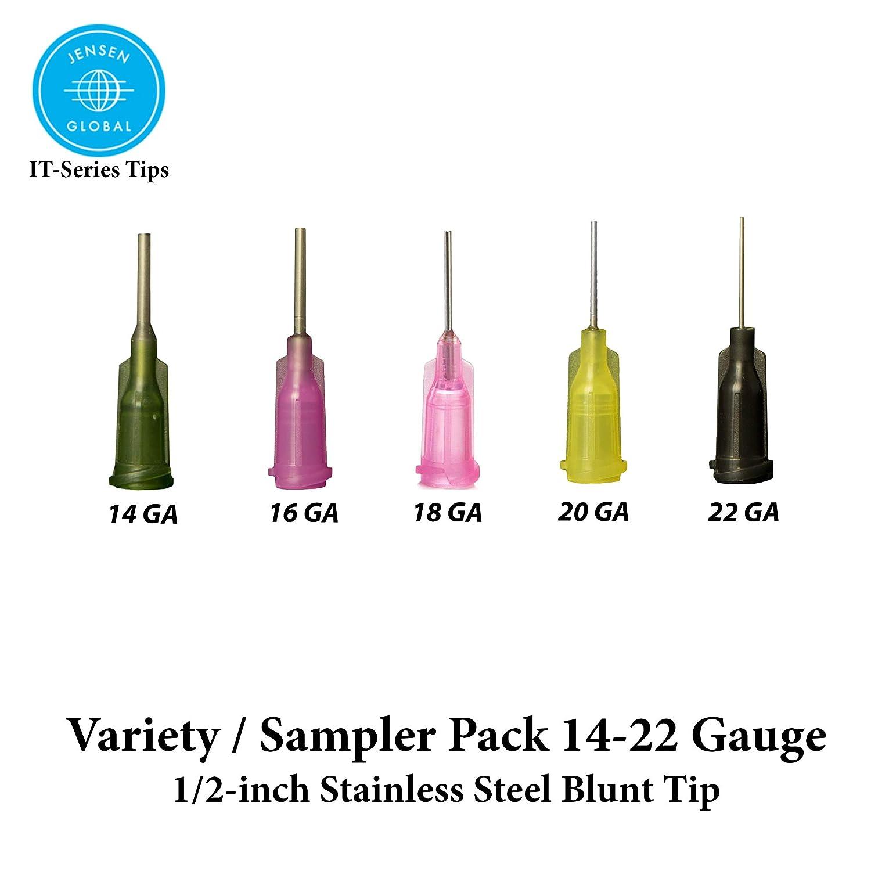 Jensen - Puntas de dispensador industrial (presión y cierre de cerradura) variedad: 5 unidades - acero de 1/2 pulgadas (14, 16, 18, 20, calibre 22): ...