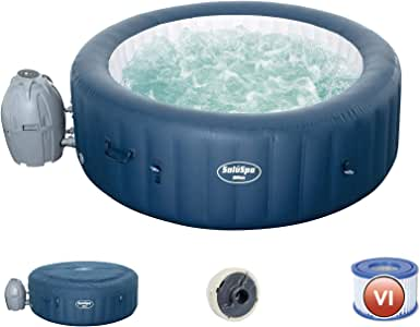 Bestway 54185E SaluSpa Milan Airjet Plus Portable Round Inflatable Hot Tub Spa with Cover & Filter Pump, Teal