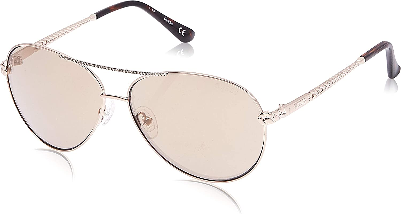 Guess g cha/îne aviator lunettes de soleil en or brun miroir GU7470-S 32G 60