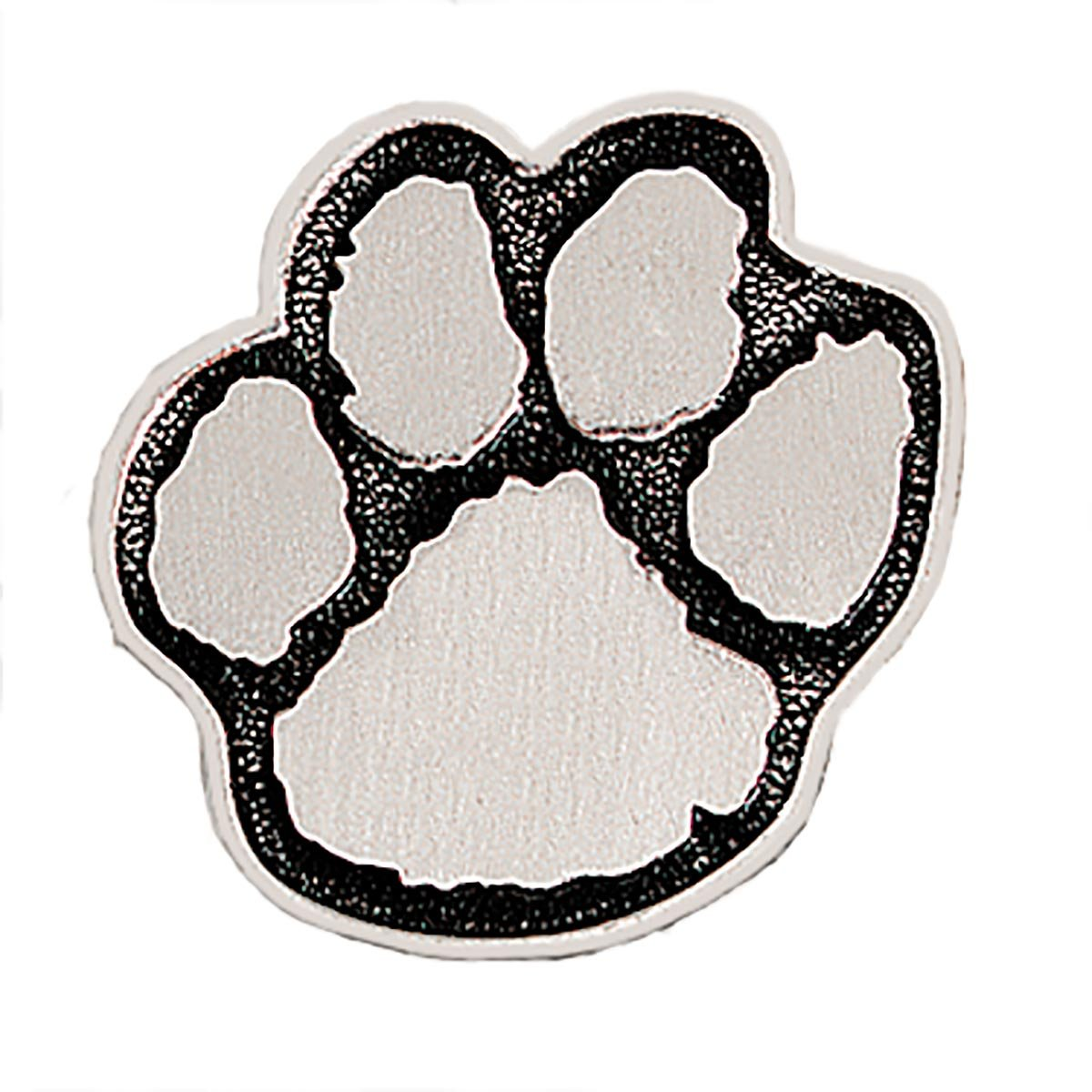 Pewter with Black Outline Paw-Shaped Award Lapel Pins, 12 Pins