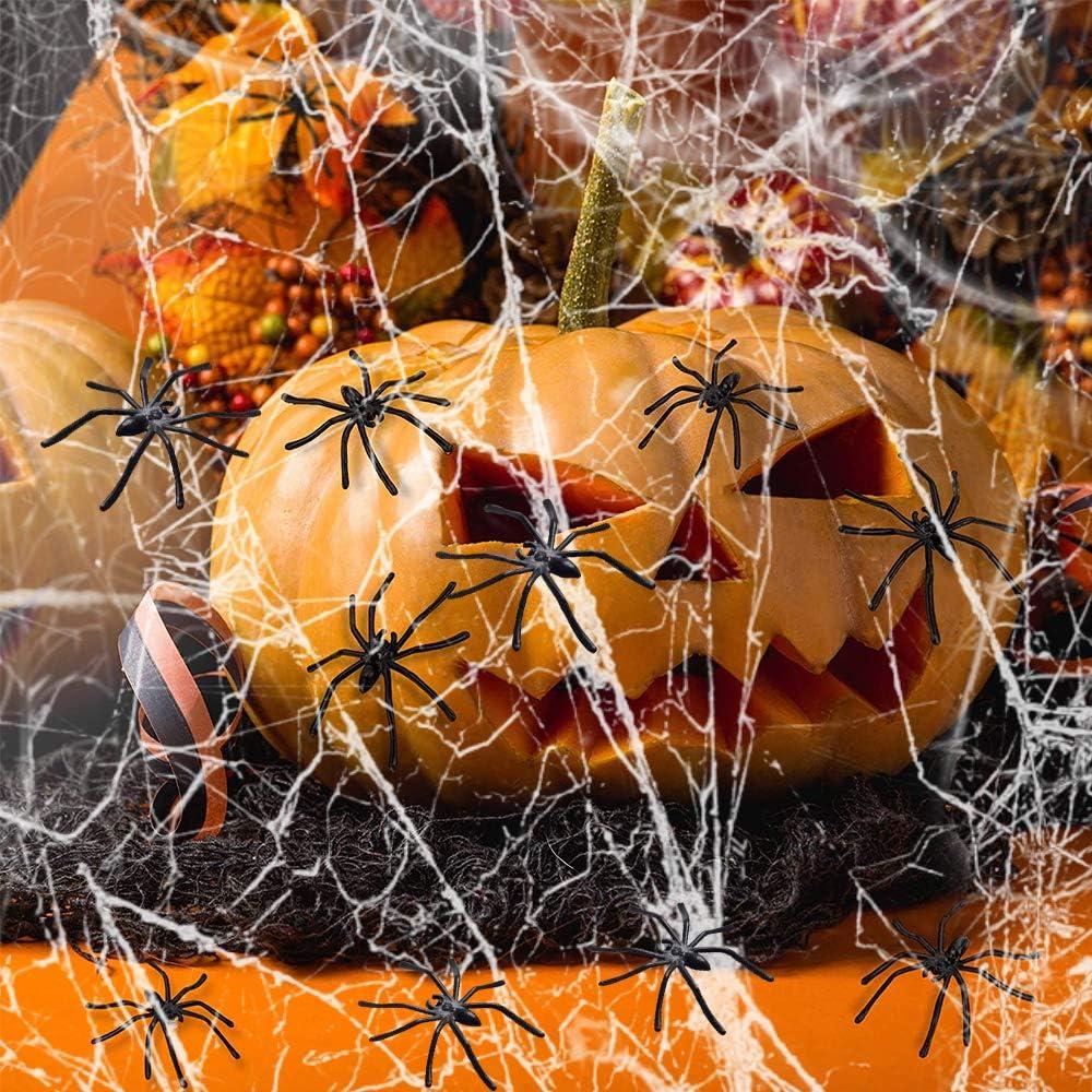 Fausses Araign/ées pour Halloween Decoration f/ête Carnaval Toile daraign/ées Extensibles D/écorations Halloween Toile daraign/ée 1000 sqft avec 20 Fausses araign/ées VZATT La Toile des Araign/ées 200g