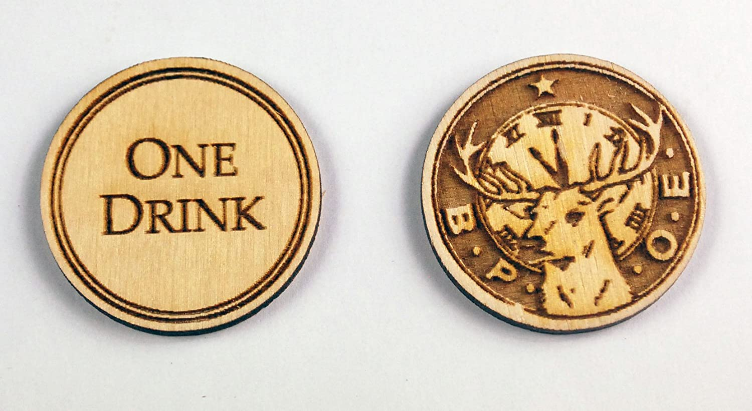 Amazon com: 250 Wooden Custom Drink Tokens - Laser Engraved: Health