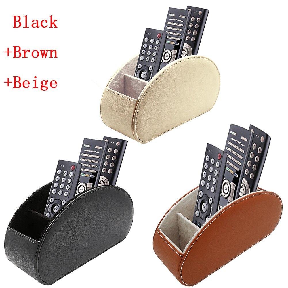 Fosinz Remote Control Holder Organizer Leather Control Storage TV Remote Control Organizer with 5 Spacious Compartments (Beige+Brown+Black)