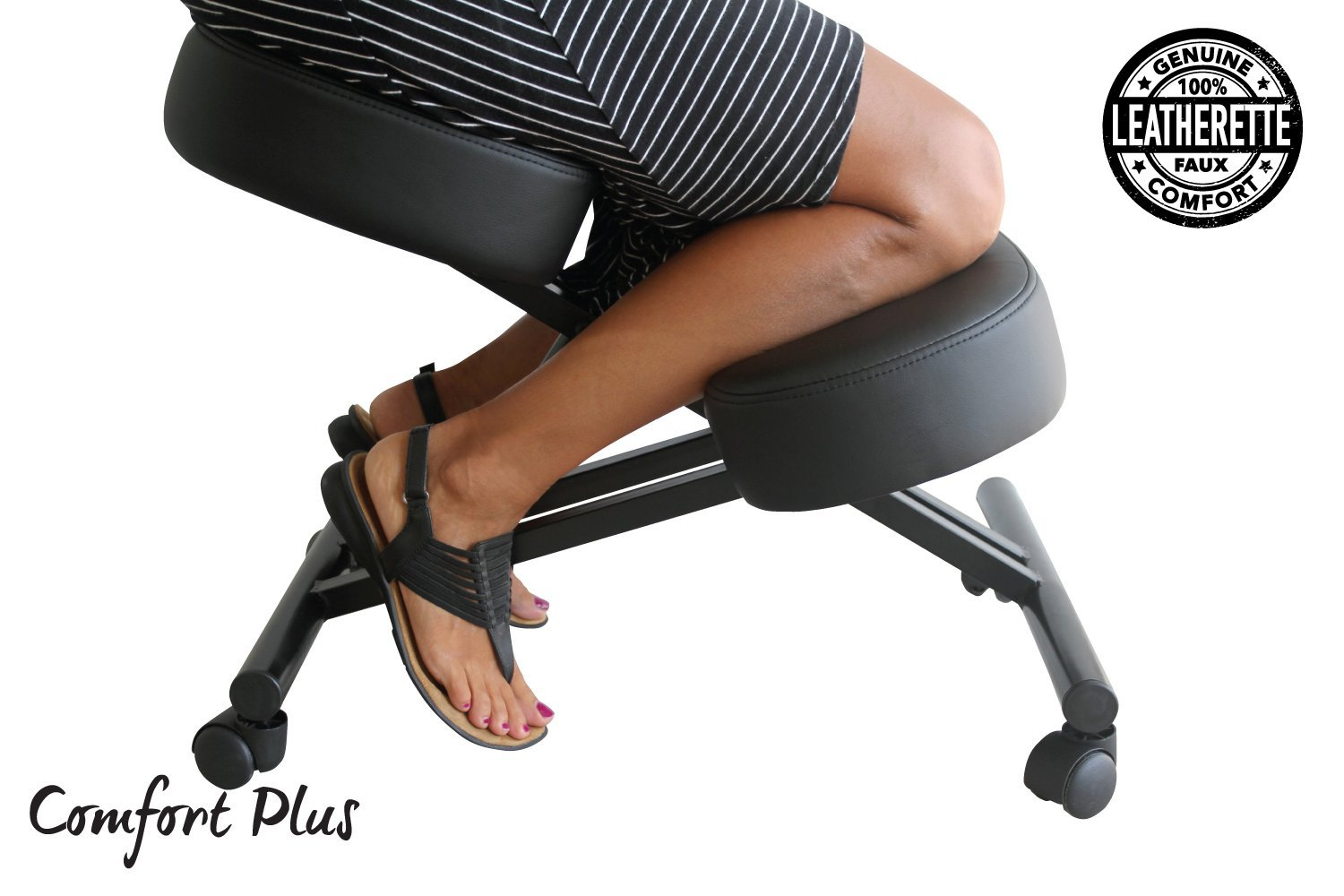 perfect posture chair. Amazon.com : The Comfort Plus Perfect Posture Chair   Kneeling Extra Padding And Ultra Soft Design, Black, Adjustable With Rollers Ergonomic