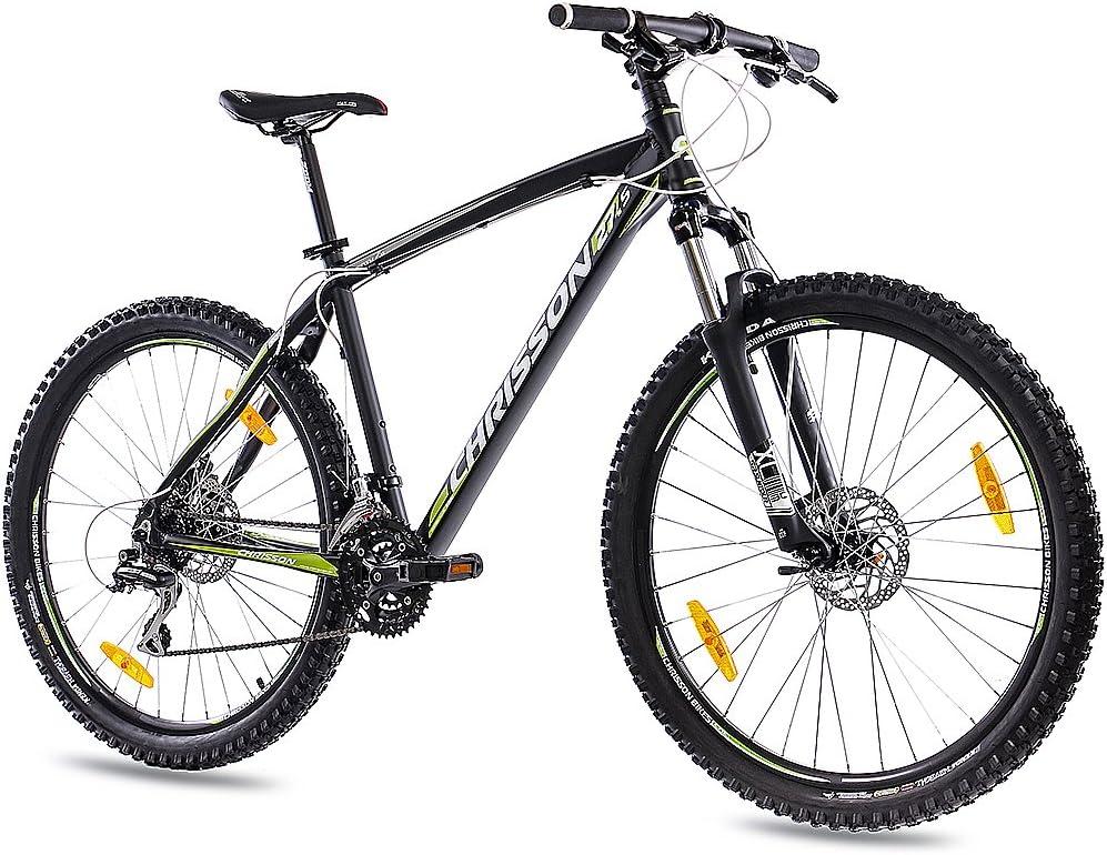 CHRISSON '27,5Pulgadas Aluminio MTB Mountain Bike Bicicleta 27,5er Unisex con 24g Shimano 2x Disk Dragon Rims Negro Mate