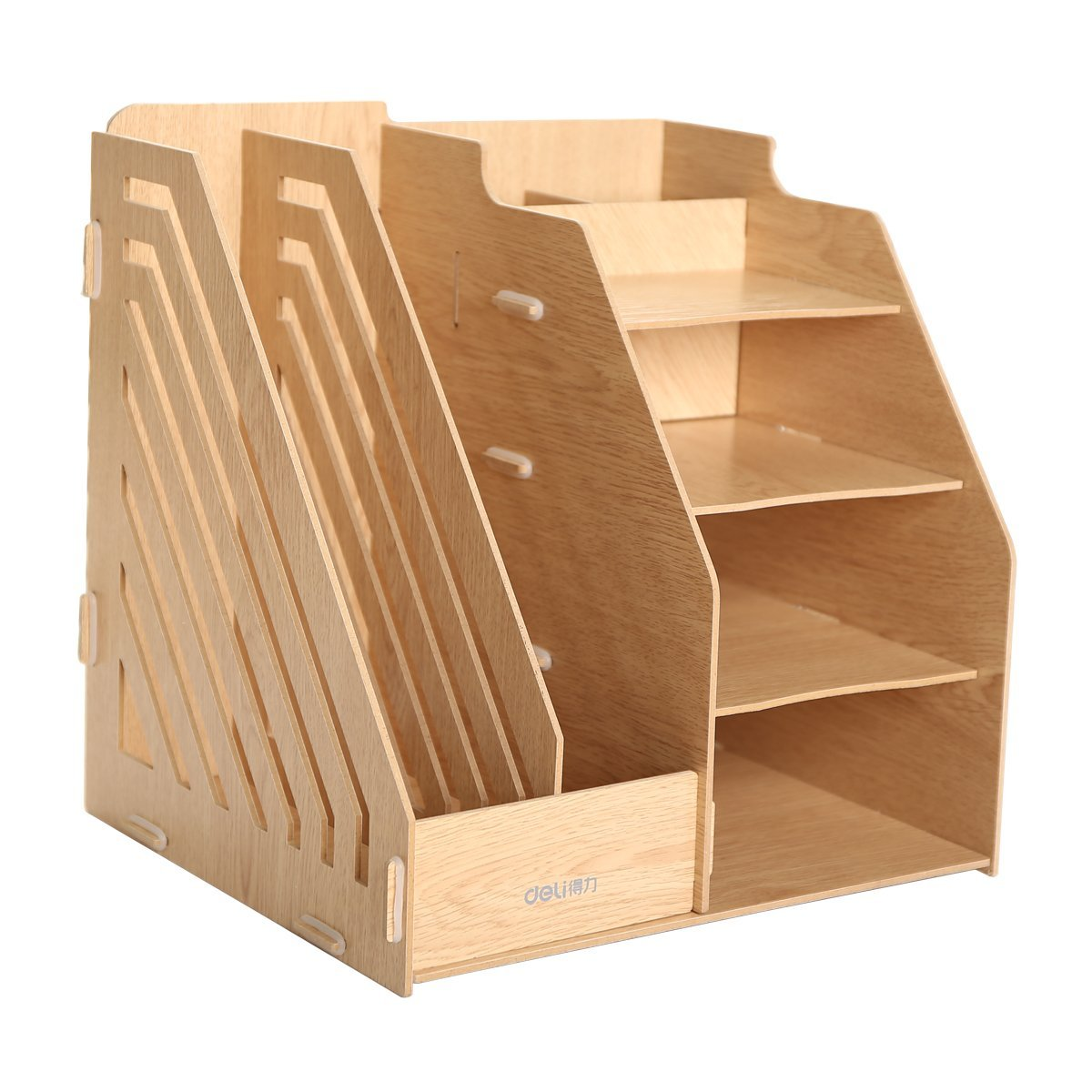 Hooshion® Detachable Desktop Storage Box Wooden Board DIY Organizer Shelf Office Supplies Storage Boxes Paper Files Slot / Magazine Holder and 4 Compartments Bins- DIY