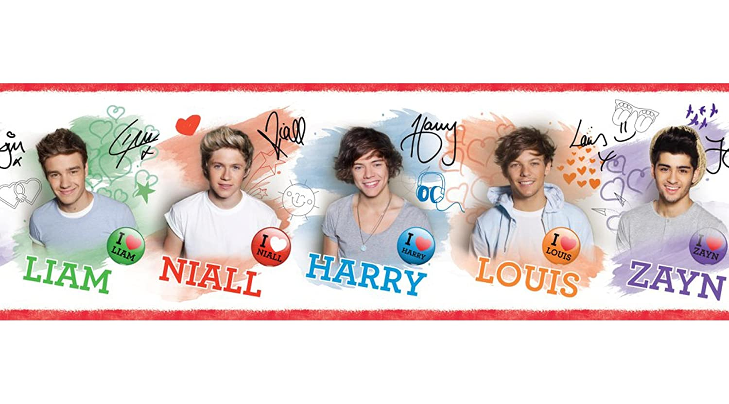 One Direction 17.5 cm Self Adhesive Border, Multi-Colour Fine Decor BO50012