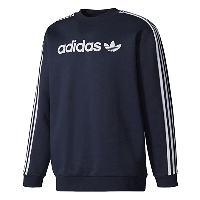 adidas Originals Mens Linear Crew Trefoil Sweatshirt Legend