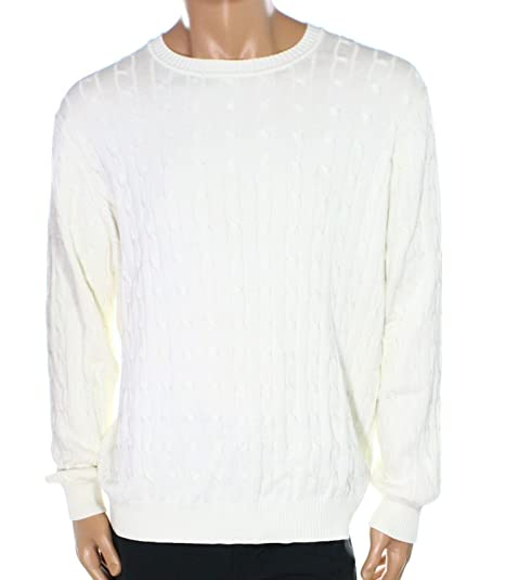 Club Room Mens Cable Knit Crewneck Sweater White Ivory Xl At Amazon