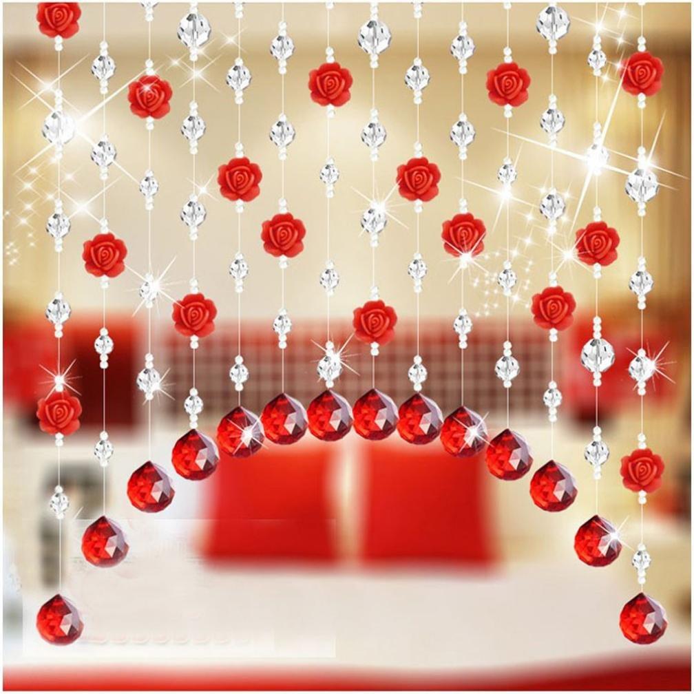 Coohole Crystal Glass Rose Bead Curtain Living Room Bedroom Window Door Wedding Home Decor (D, With Pendants)