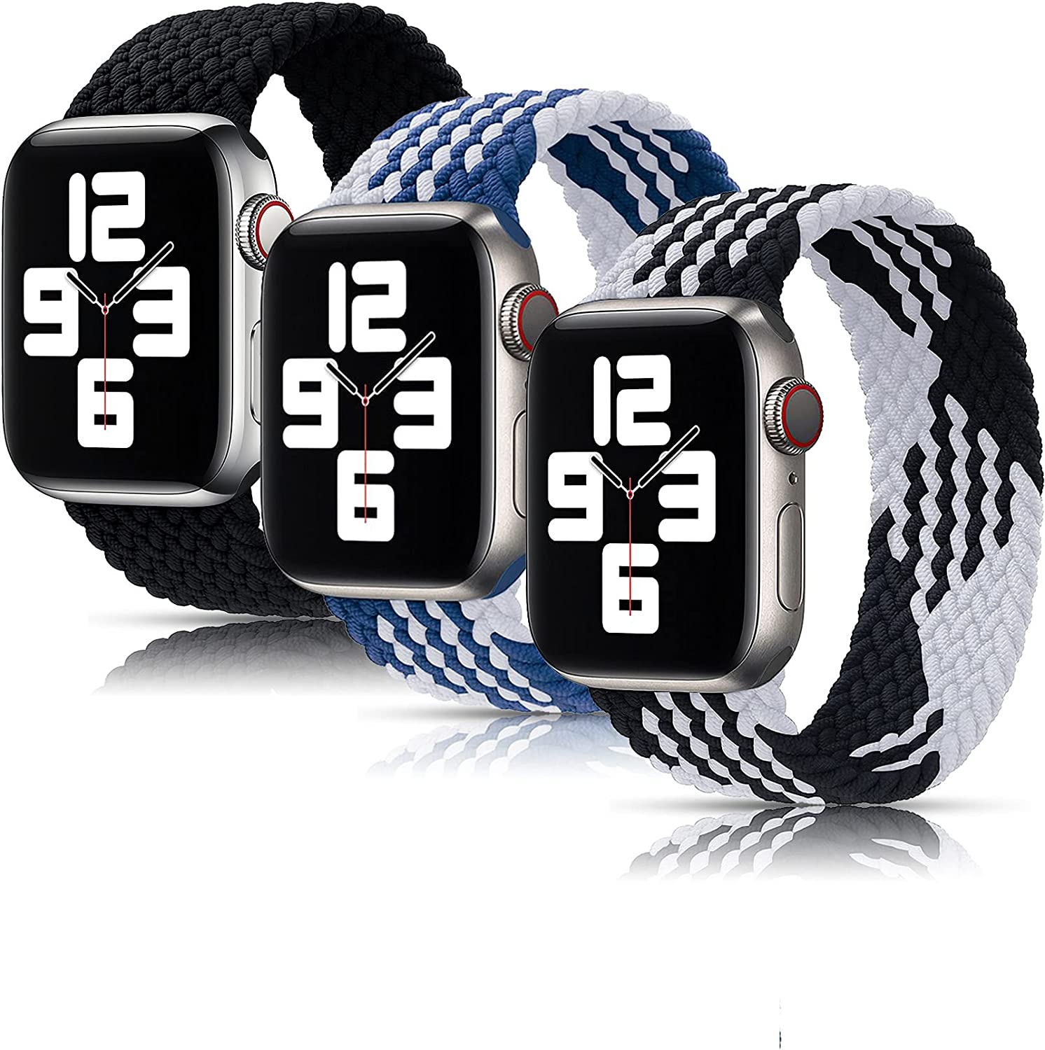 Girovo 3 Packs Solo Loop Strap Compatible with Braided Sport Apple Watch Band 42mm 44mm, Soft Stretchy Braided Wristband for iWatch Series 1/2/3/4/5/6/SE, Charcoal/Black White/Blue White, L