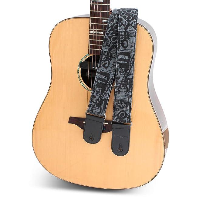 F-S1 - Correa de piel sintética para guitarra con hebilla de metal ...