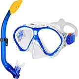 Gintenco Kids Snorkel Set, Dry Top Snorkel Mask Anti-Leak for Youth Junior Child, Anti-Fog Snorkeling Gear Free Breathing,Tempered Glass Swimming Diving Scuba Goggles 180° Panoramic View