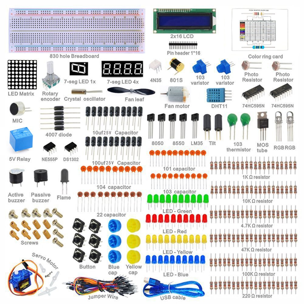 Sanzo Arduino Starter Kit Capacitors Maker 1602lcd Capacitor Led Circuit Electronics
