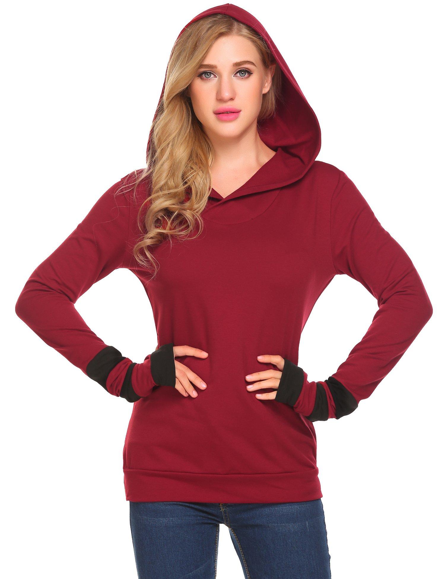 Zeagoo Women Fashion Color Block Hoodie Casual Shirt Top, Purple Red, Small