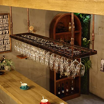 Aszhdfihas Counter Wall Mounted Glass Rack 2Lines Copper Color Metal Wine Glass Rack Under Cabinet Wall Mounted Stemware Wine Cup Storage Holder