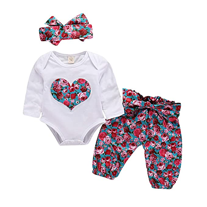 b68d8cc7bb59 Newborn Baby Girl Romper Outfits Long Sleeve Heart Floral Printed Bodysuit  Halen Bow Pants with Headband