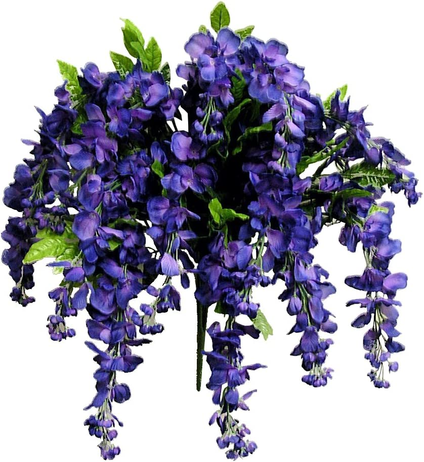 Artificial Wisteria Long Hanging Bush Flowers - 15 Stems For Home, Wedding, Restaurant and Office Decoration Arrangement, Purple