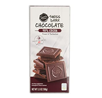 49dd5c74 Sam's Choice 90% Cocoa Premium Swiss Super Dark Chocolate Bar, 100g [Pack of