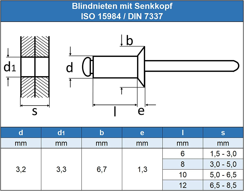 - mit Senkkopf Eisenwaren2000 Edelstahl A2 V2A 3,2 x 8 mm Blindniet rostfrei 100 St/ück Popnieten DIN 7337 ISO 15984 Niet