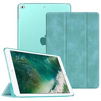 FINTIE Funda para iPad 2018/2017 - Trasera Transparente Carcasa Ligera de Patrón de Tela con Función de Soporte y Auto-Reposo/Activación para iPad 5.ª ...