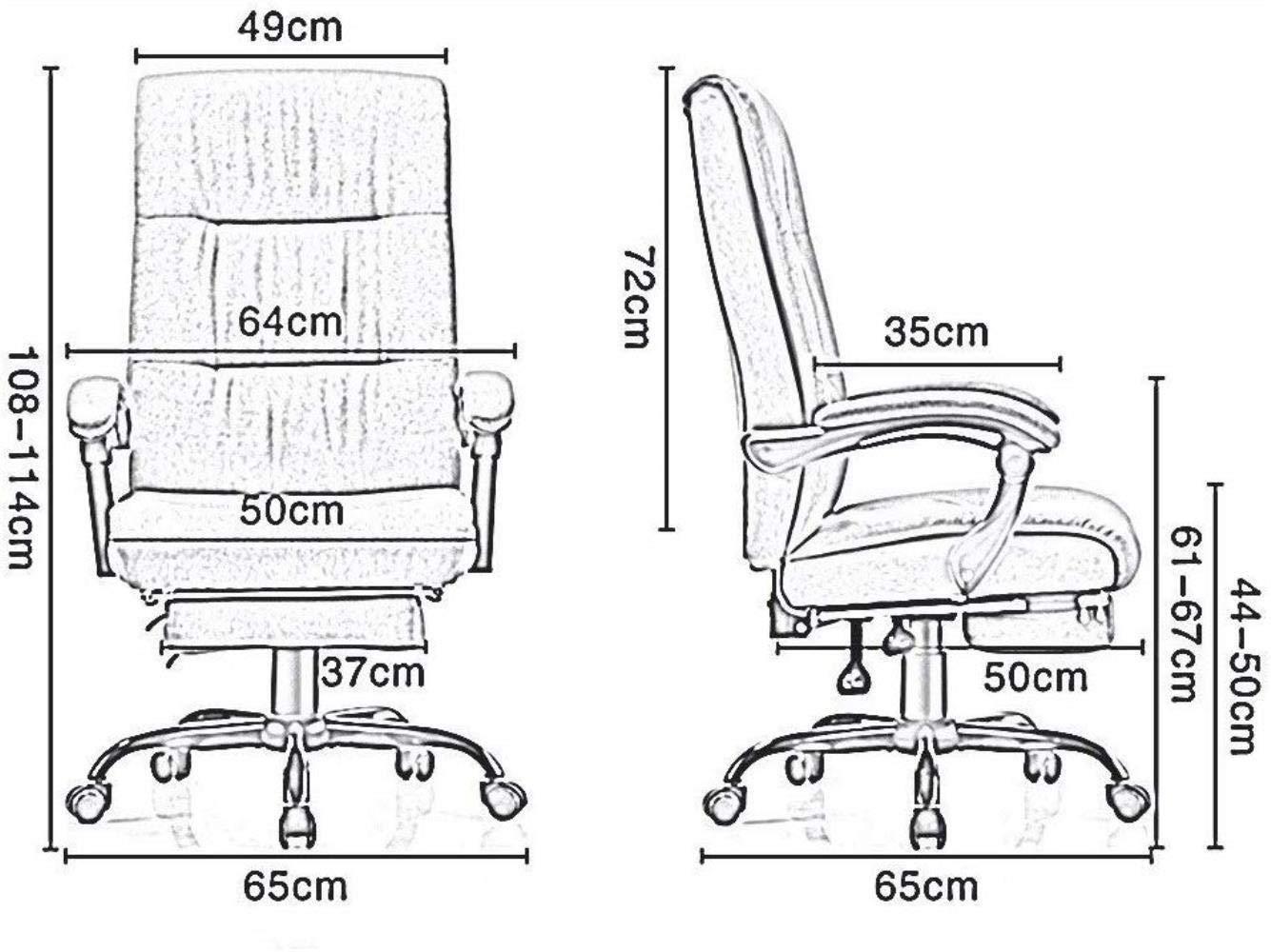 Xiuyun fiskstol spelstol datorstol uppgift stol verkställande räddning med 72 cm hög rygg och lutningsfunktion ultimat bärvikt 150 kg (färg: Mörkgrå) Khaki