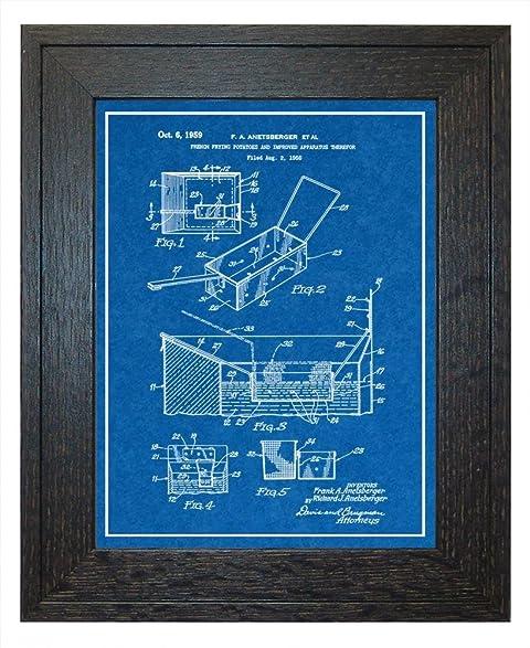 Amazon french fry deep fryer patent art blueprint print with a french fry deep fryer patent art blueprint print with a border in a rustic oak wood malvernweather Images
