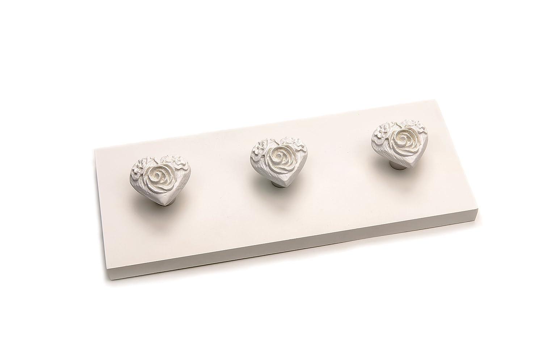 Headbourne HR0209/C 3/ganci a forma di cuore su parete Fix decorativo barra appendiabiti attaccapanni bianco antico