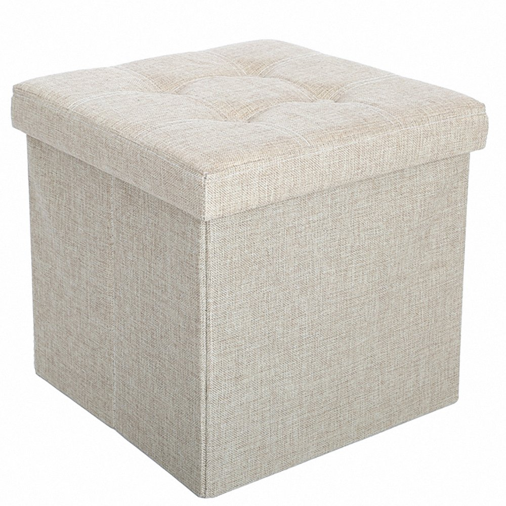 Epeanhome Storage Ottoman Fabric Linen Folding Stool,Collapsible 15