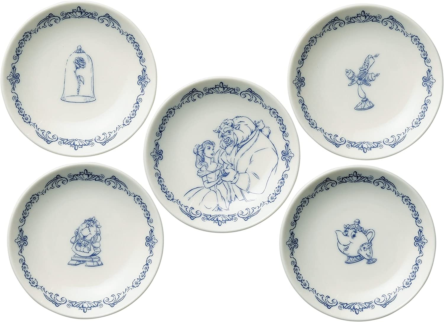Disney Beauty and the Beast Dish Plate Saucer Set of 5 D-BB03 with Maebata