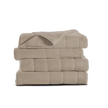 Sunbeam Heated Blanket   Microplush, 10 Heat Settings, Mushroom, Queen