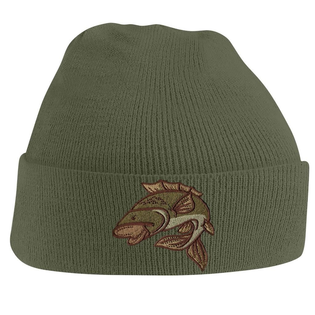 Beanie Hats for Men Carp Fishing Beanies Embroidered Animal Knitted Wooly Hat One Size Fits All Beanie Fishermans Hat BANG TIDY CLOTHING DW015-Black