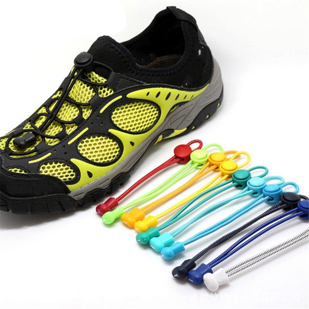 1 Pair Elastic Unsiex No Tie Locking Shoelaces Trainer Running Athletic Sneaks Shoe Laces white
