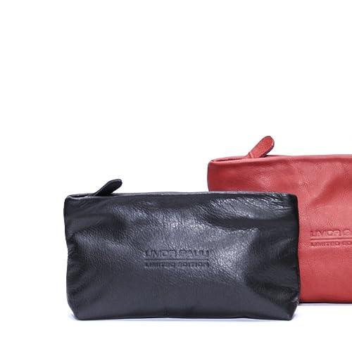 cb8ee20097f0 Amazon.com  Soft Small Black Leather Pouch Makeup bag case women clutch zippered  wallet purse cosmetic handbag  Handmade