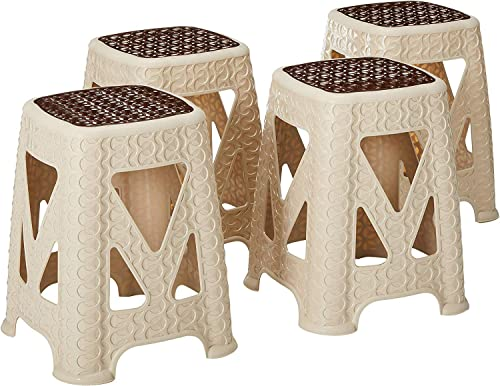 Uniware Rattan Style 18 Large Plastic Stool Beige Brown,Made In Turkey 4 Pack