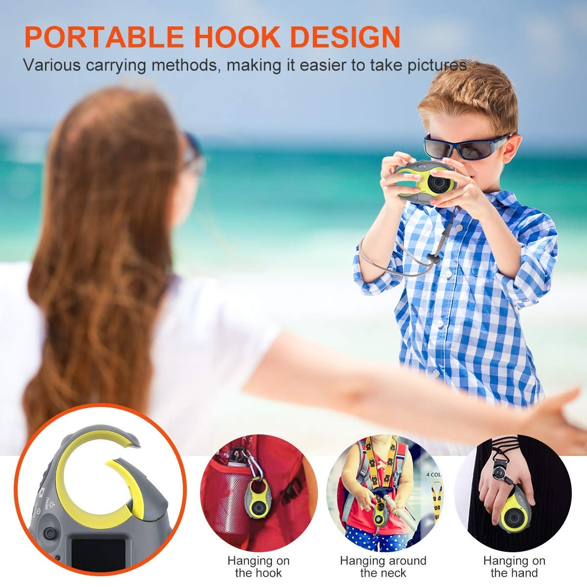 Kids Camera, Digital Camera for Children, 12MP HD Kids Video Camera with 1.5 Inch LCD Screen, 4x Digital Zoom, Flash Light, Rechargeable Battery and 8GB SD Card, Best Holiday Gift for Boys and Girls by LDF (Image #5)