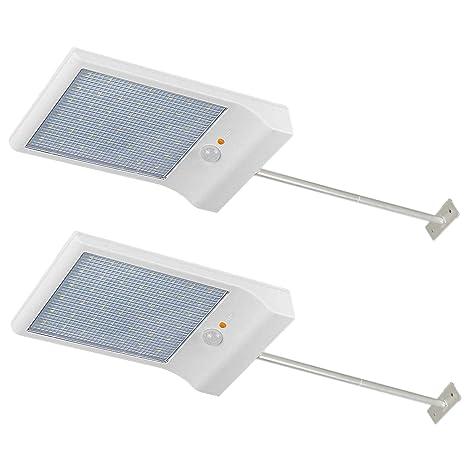 Lámpara solar Luces Jardín 42 LED solares exterior foco led sensor de movimiento 2 Piezas 6000KImpermeable iluminación vial blanco luz del ...