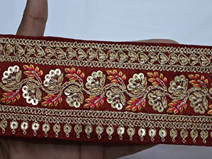 """Red And Gold Beaded Lace Scalloped Border Appliqué Trim 13"""" Wide By The Yard"""