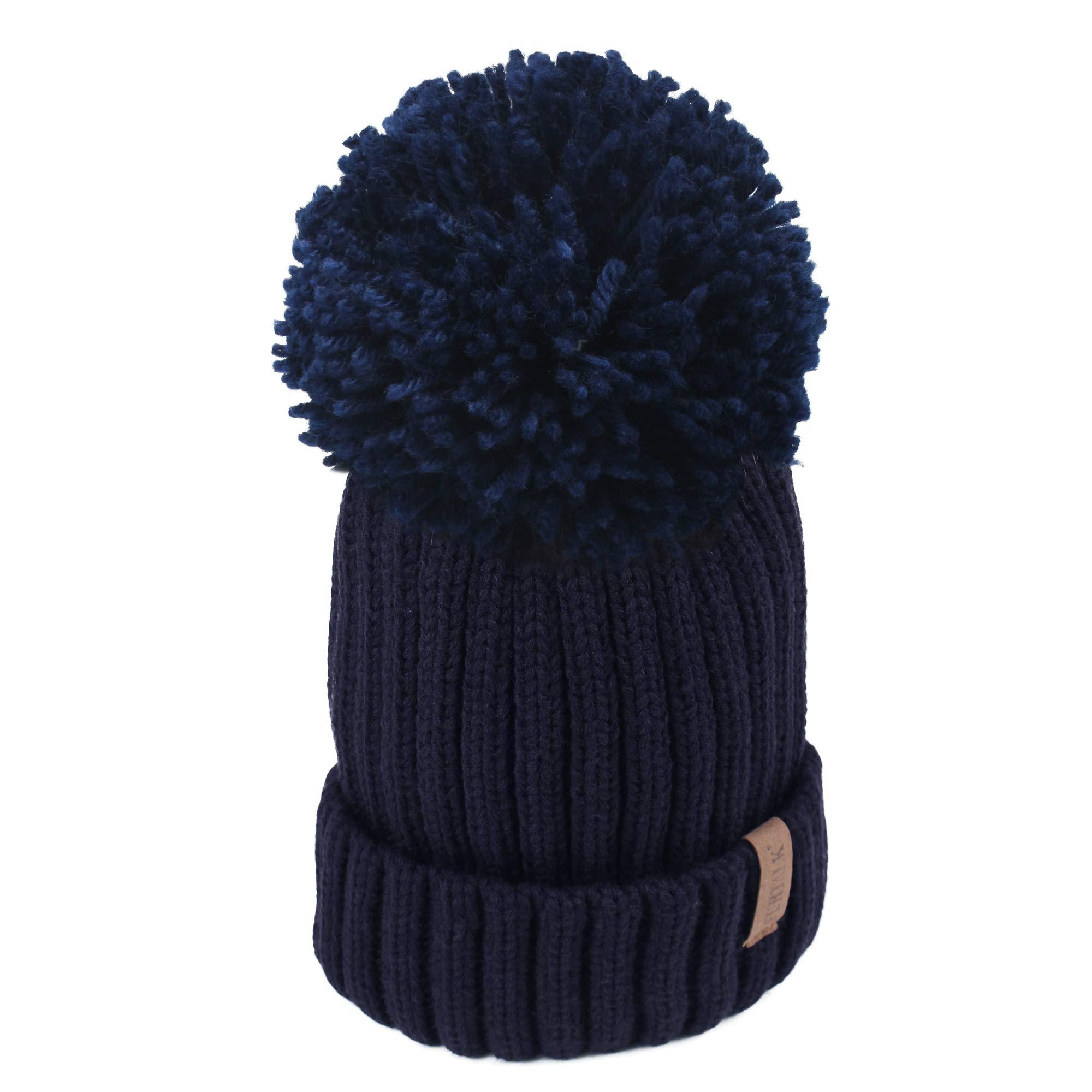 FURTALK Winter Knit Hat Real Raccoon Fur Pom Pom Womens Girls Knit Beanie Hat (Grey with Grey Knit pom)