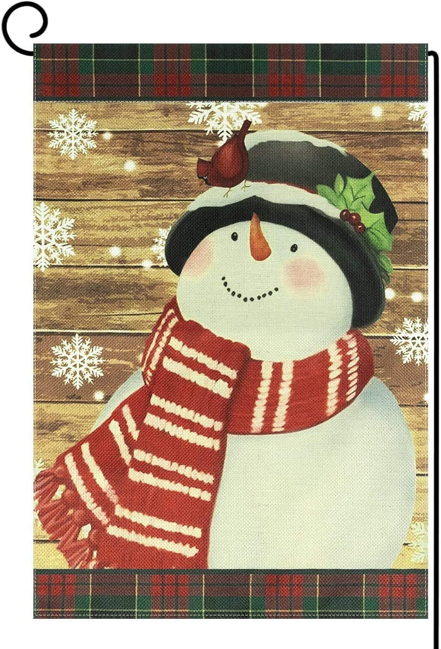 OZMI Snowman Burlap Welcome Garden Flag, Home Decorative Christmas Garden Flag, Double Sided Flags with Snowflakes Buffalo Plaid Scarf for Yard Winter Party Decor, Season Home Outdoor Flag 12 x 18